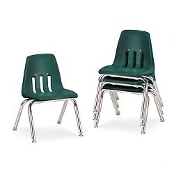 "9000 Series Classroom Chairs 12"" Seat Height Forest GreenChrome 4Carton (VIR901275)"