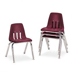 "9000 Series Classroom Chairs 14"" Seat Height WineChrome 4Carton (VIR901450)"