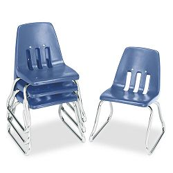 "9600 Classic Series Classroom Chairs 12"" Seat Height BlueChrome 4Carton (VIR961240)"
