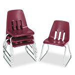 "9600 Classic Series Classroom Chairs 12"" Seat Height WineChrome 4Carton (VIR961250)"