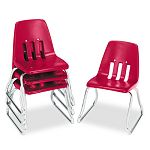 "9600 Classic Series Classroom Chairs 12"" Seat Height RedChrome 4Carton (VIR961270)"