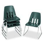 "9600 Classic Series Classroom Chairs 12"" Seat Height Forest GreenChrome 4CT (VIR961275)"