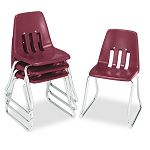 "9600 Classic Series Classroom Chairs 14"" Seat Height WineChrome 4Carton (VIR961450)"