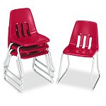"9600 Classic Series Classroom Chairs 14"" Seat Height RedChrome 4Carton (VIR961470)"