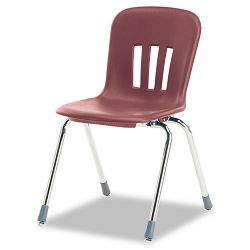 "Metaphor Series Classroom Chair 18"" Seat Height WineChrome 4Carton (VIRN918RED50CHM)"