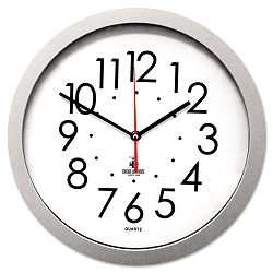Quartz Flat Rim Clock 13-14in Silver (ILC67818003)
