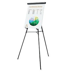 "3-Leg Telescoping Easel with Pad Retainer Adjusts 34"" to 64"" Aluminum Black (UNV43150)"