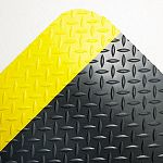 Industrial Deck Plate Antifatigue Mat Vinyl 36 x 60 BlackYellow Border (CWNCD0035YB)