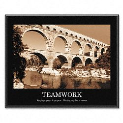"""Teamwork"" Framed Sepia-Tone Motivational Print 30 x 24 (AVT78162)"