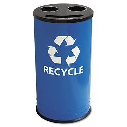 Round Three-Compartment Recycling Container Steel 14 gal BlueBlack (EXCRC15283RBL)
