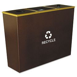 Metro Collection Recycling Receptacle Triple Stream Steel 54 gal Brown (EXCRCMTR3HCP)