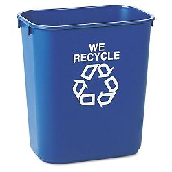 Small Deskside Recycling Container Rectangular Plastic 13 58 qt Blue (RCP295573BE)