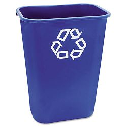 Large Deskside Recycle Container wSymbol Rectangular Plastic 41 14 qt Blue (RCP295773BE)