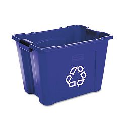 Stacking Recycle Bin Rectangular Polyethylene 14 gal Blue (RCP571473BE)