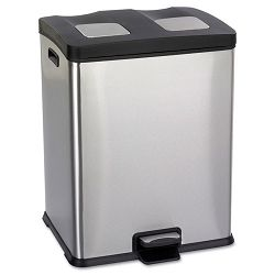 Right-Size Recycling Station Rectangular SteelPlastic 15 gal StainlessBlk (SAF9634SS)