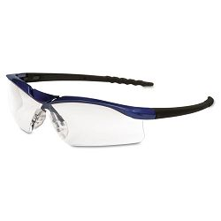 Dallas Wraparound Safety Glasses Metallic Blue Frame Clear AntiFog Lens (CRWDL310AF)