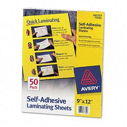 "Clear Self-Adhesive Laminating Sheets 3 mil 9"" x 12"" Box of 50 (AVE73601)"