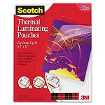 "Letter size thermal laminating pouches 3 mil 11 12"" x 9"" Pack of 50 (MMMTP385450)"