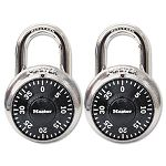 "Combination Lock Stainless Steel 1-78"" Wide Black Dial 2Pack (MLK1500T)"