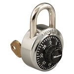 "Combination Stainless Steel Padlock with Key Cylinder 1-78"" Wide BlackSilver (MLK1525)"