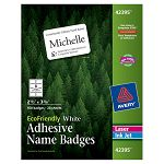 EcoFriendly Name Badge Labels 2-13 x 3-38 White 160Box (AVE42395)