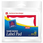 Name Badge Label Pads 3 x 4 RedWhite 40Pack (AVE45143)
