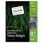 EcoFriendly Name Badge Labels 2-13 x 3-38 White 80Pack (AVE48395)