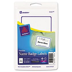 Flexible Self-Adhesive LaserInkjet Name Badge Labels 2-13 x 3-38 BE 40Pk (AVE5151)