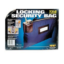"Seven-Pin SecurityNight Deposit Bag with 2 Keys Nylon 8-12"" x 11"" Navy (MMF233110808)"