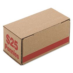 Corrugated Cardboard Coin Storage with Denomination Printed On Side Red (PMC61001)