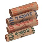 Preformed Tubular Coin Wrappers 54 Each PenniesNickelsDimesQuarters Box of 216 (RSIFSW216N)