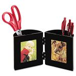 "Pencil Cup with Photo Frames 4 "" dia. x 4"" Black (DEF35004)"