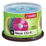 CD-R Discs 700MB80min 40x Spindle Assorted Neon Pack of 50 (IMN15808)