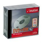 DVD+RW Discs 4.7GB 4x with Jewel Cases Silver Pack of 5 (IMN16804)