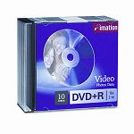 DVD+R Discs 4.7GB 16x with Slim Jewel Cases Silver Pack of 10 (IMN17616)