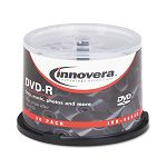 DVD-R Discs Hub Printable 4.7GB 16x Spindle Matte White Pack of 50 (IVR46830)