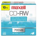 CD-RW Discs 700MB80min 4x Silver Pack of 10 (MAX630011)