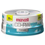 CD-RW Discs 700MB80min 4x Spindle Silver Pack of 25 (MAX630026)