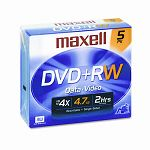 DVD+RW Discs 4.7GB 4x with Jewel Cases Silver Pack of 5 (MAX634045)