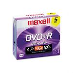 DVD+R Discs 4.7GB 16x with Jewel Cases Silver Pack of 5 (MAX639002)
