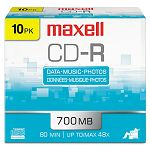 CD-R Discs 700MB80min 48x with Slim Jewel Cases Silver Pack of 10 (MAX648210)