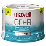 CD-R Discs 700MB80min 48x Spindle Silver Pack of 50 (MAX648250)