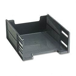 Stackable High Capacity Front Load Letter Tray Polystyrene Ebony (RUB17671)