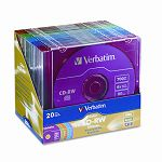 CD-RW Discs 700MB80min 4x Slim Jewel Cases Assorted Colors Pack of 20 (VER94300)