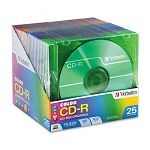 CD-R Discs 700MB80min 52x Slim Jewel Cases Assorted Colors Pack of 25 (VER94611)