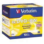 DVD+RW Discs 4.7GB 4x with Slim Jewel Cases Pearl Pack of 10 (VER94839)