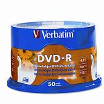 Inkjet Printable DVD-R Discs 4.7GB 16x Spindle White Pack of 50 (VER95079)