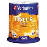 DVD-R Discs 4.7GB 16x Spindle Matte Silver Pack of 100 (VER95102)