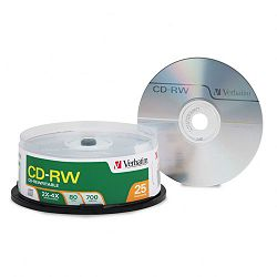 CD-RW Discs 700MB80min 4x Spindle Matte Silver Pack of 25 (VER95169)