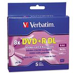 Dual-Layer DVD+R Discs 8.5GB 8x with Jewel Cases Pack of 5 Silver (VER95311)